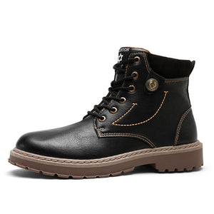 Men Leather Boots Comfortable Oxfords Work Boots