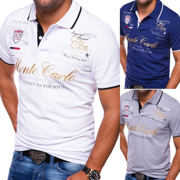 Men Cotton Casual Printing Solid Anti-shrink Shirts Summer Polo