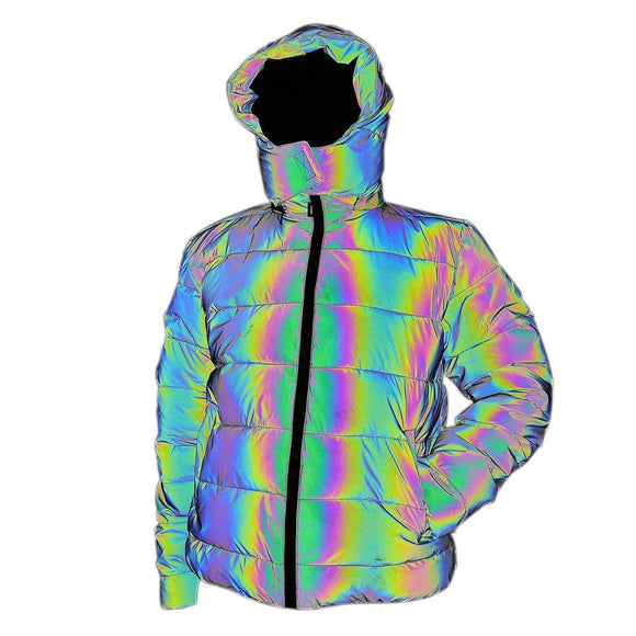Men Reflecting Rainbow Winter Streetwear Windbreaker Jacket