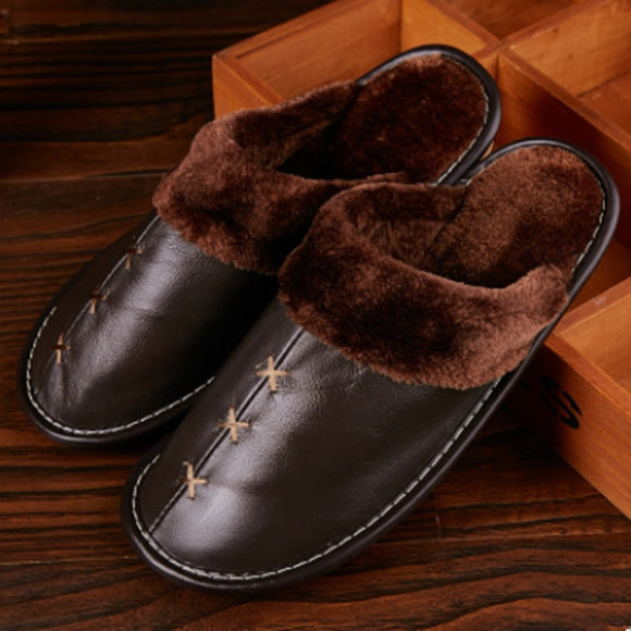 Kaaum Warm Genuine Leather Slippers