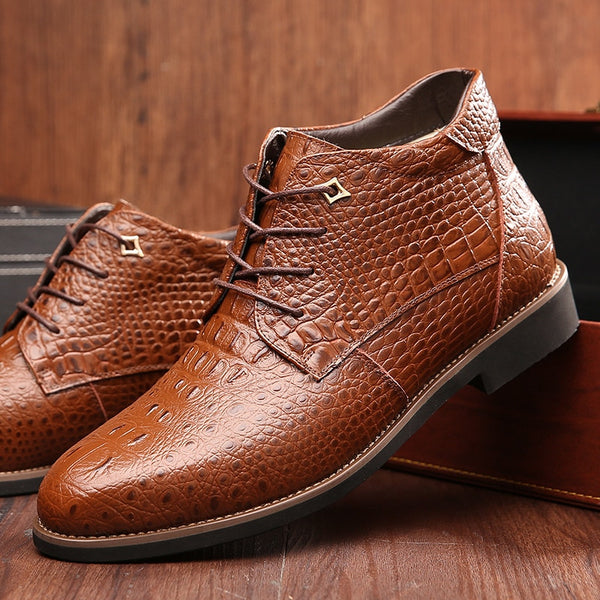2018 Autumn Winter Men's Fashion Business Leather Warm Boots Shoes