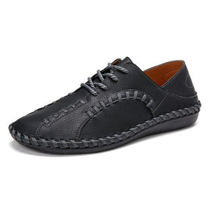 Men Hand Stitching Microfiber Leather Casual Shoes