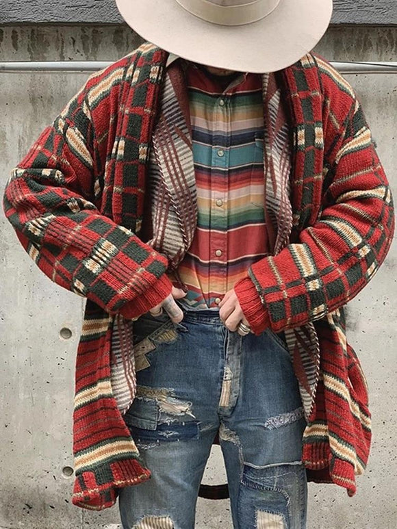 Men Long Sleeve Midi Sweater Coat Plaid Print Winter and Autumn Casual Cardigans