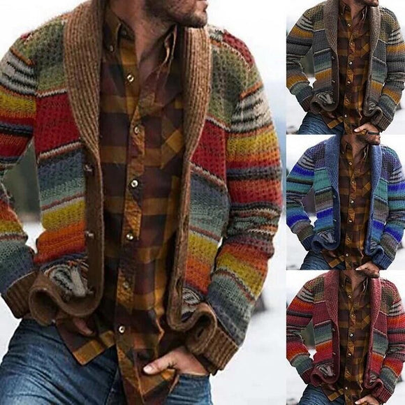 Kaaum Patchwork Knitted Jacket Sweater Stitching Cardigan