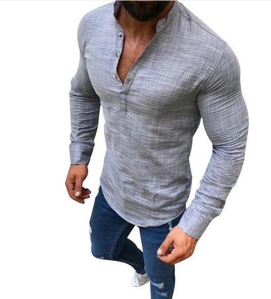 Clothing - 2018 Men's Solid Color Shirt Long Sleeve