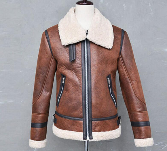 Fashion Men Winter Faux Leather Jacket