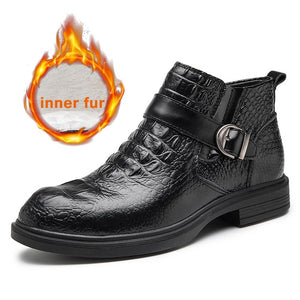 Men Leather Fashion Boat Ankle Fur Boots(BUY 2 GET 10% OFF, 3 GET 15% OFF)