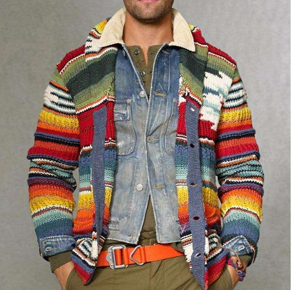 Mens Autumn Cardigan Printed Warm Christmas Sweater