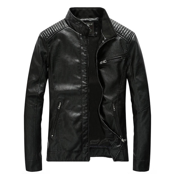 Men's Clothing - Men's Stand Collar Zipper Leather Jacket