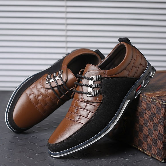 Kaaum-Leather Men's Casual Shoes Breathable Lace Up Oxford Shoes Business Dress Wedding