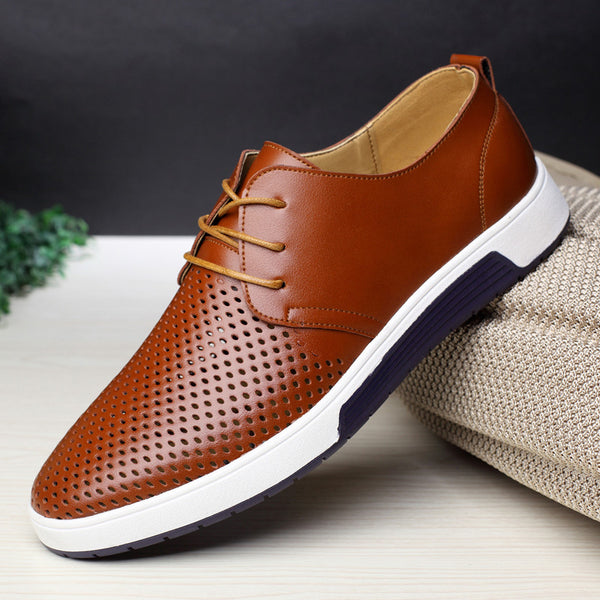 New Leather Men Breathable Casual Shoes