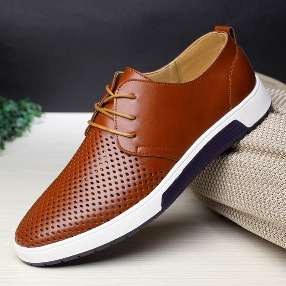 Kaaum-Men Leather Breathable Holes Casual Shoes