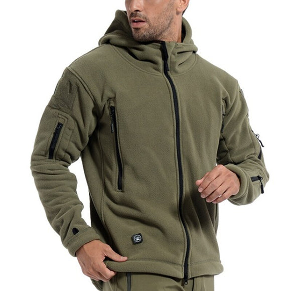 Kaaum Men's Outdoor Sport Warm Hooded Fleece Tactical Jacket