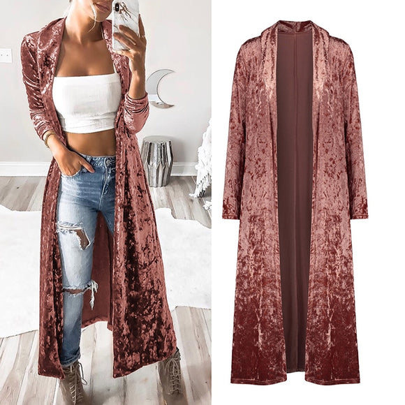 Women's Clothing - Fashion Women's Long Sleeve Crushed Velvet Sweater Cardigans