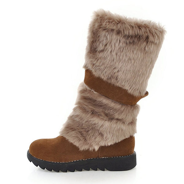 Women's Shoes - Fashion Women's Warm Fur Decoration Mid Calf Boots