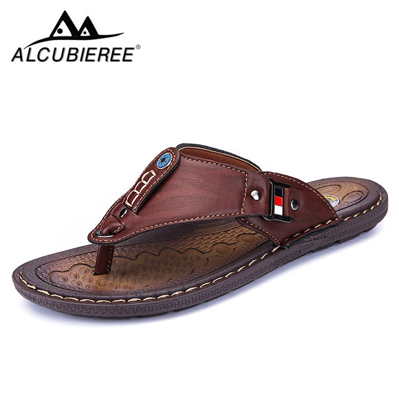 Shoes - 2019 Genuine Leather Men Summer Slippers Beach Sandals