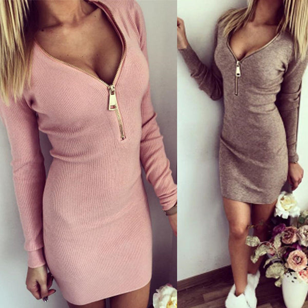 2018 New Autumn V-neck Sexy Knitted Dress