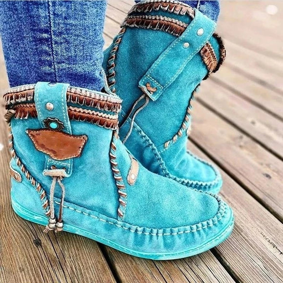New Blue Round Toe Women Ankle Boots