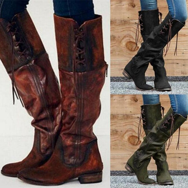 Women's Shoes - Fashion Gladiator Vintage Leather Knee-High Boots
