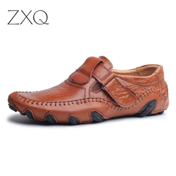 Shoes - Male Genuine Leather Breathable Driving Loafers
