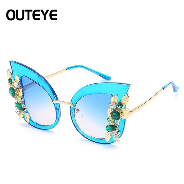 Sunglasses - Womens Diamond Colorful Cat Eye Sunglasses