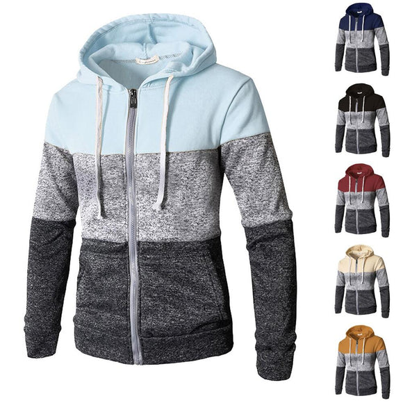 New Fashion Men's Hooded Mix Color Sweatshirts Zipper Coat
