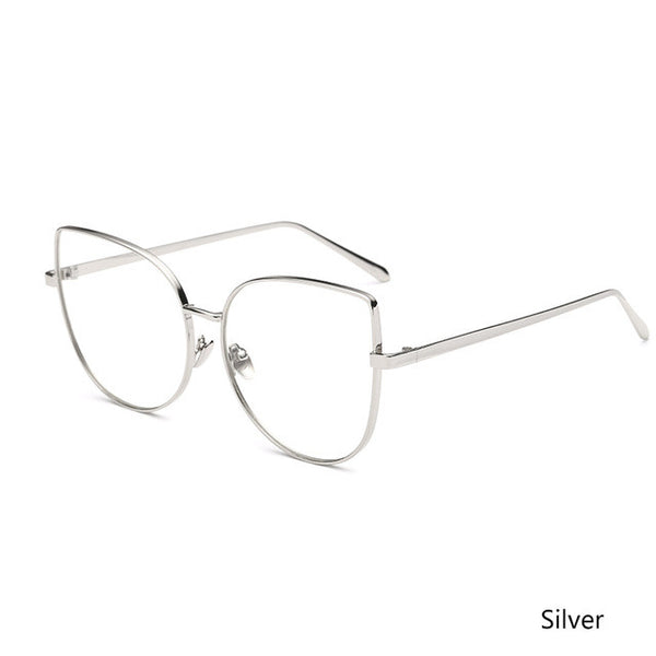 Sunglasses - Fashion Oversize Metal Cat Eye Clear Lens Glasses