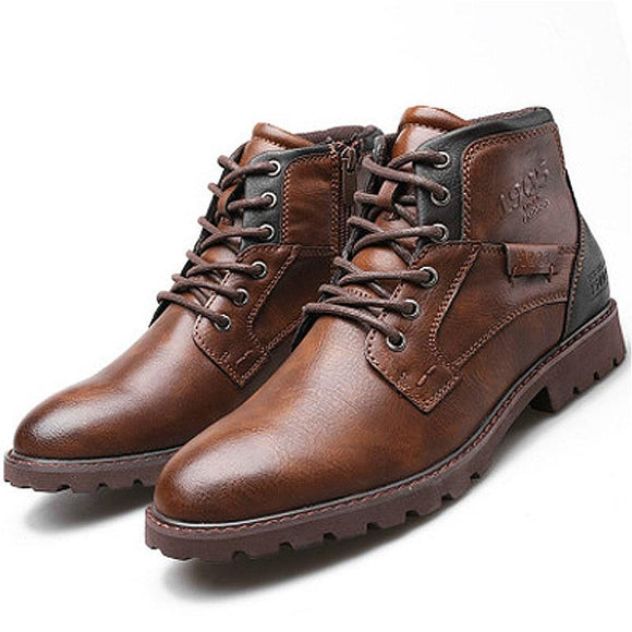 Lukmall Men Waterproof Retro Leather Ankle Boots