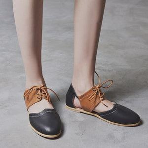 Women's Shoes - Women Leather Round Toe Gladiator Shoes