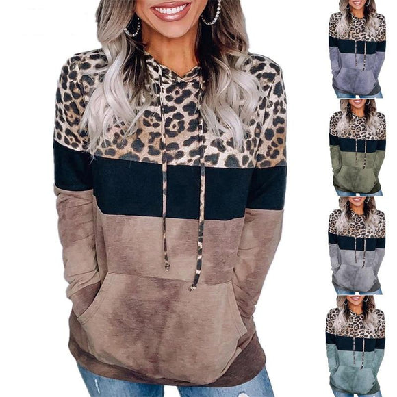 New Women Autumn Winter Streewear Leopard Print Ladies Clothes Casual Loose Hoodies Sweatshirts