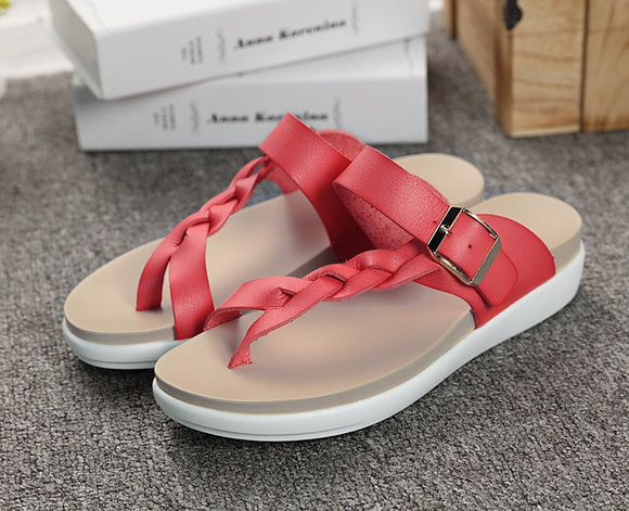 Sandals - Women's Fashion Summer Buckle Flat Sandals