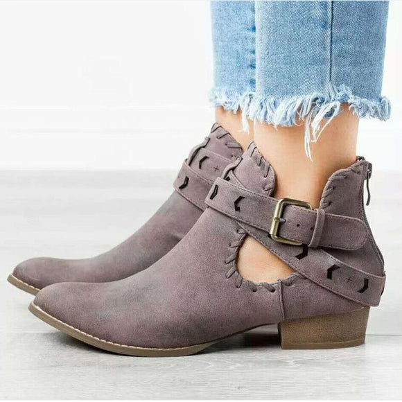 New Women's Low Heel Retro Ankle Strap Boots