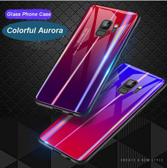 Phone Accessories - 2019 Luxury Gradient Tempered Glass Rainbow Blue Ray Back Shell Case for Samsung Galaxy S9 S9 Plus Note 9