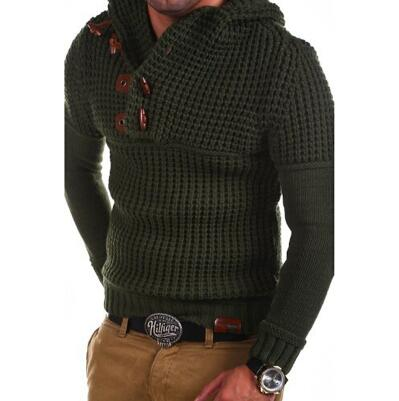 Men's Clothing - New Fashion Men's Button O Neck Hooded Sweater