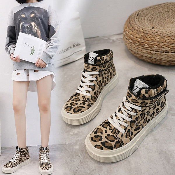 Women's Shoes - Leopard Thick Canvas Mid-Top Sneakers