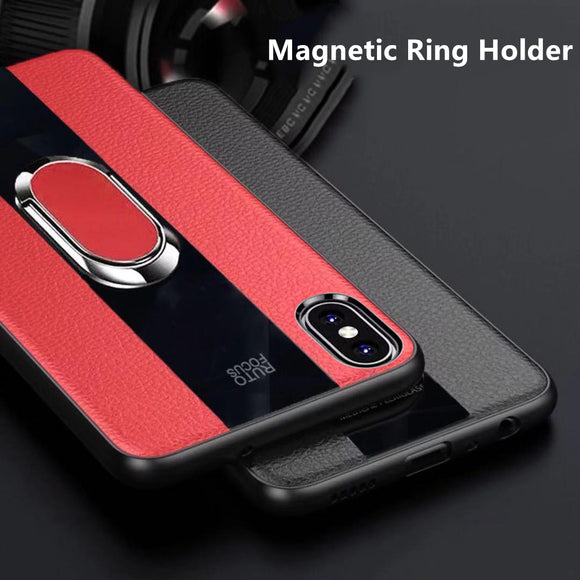 Phone Case - 2019 Luxury Silicone Litchi Leather & Glass Magnetic Ring Holder Case For iPhone X/XR/XS/XS Max 8 7 6S 6/Plus & Samsung