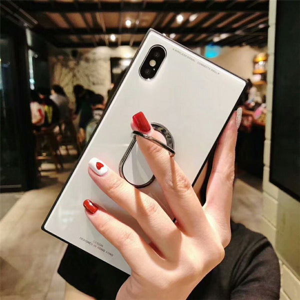 Phone Case - Tempered Glass Square Fashion Classic Phone Case for iPhone X