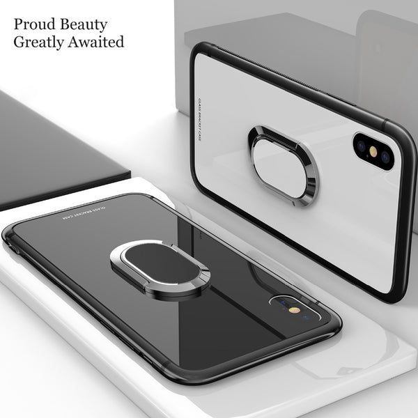 Phone Case - Tempered Glass Magnetic Car Bracket Case For iPhone 7 8 Plus X