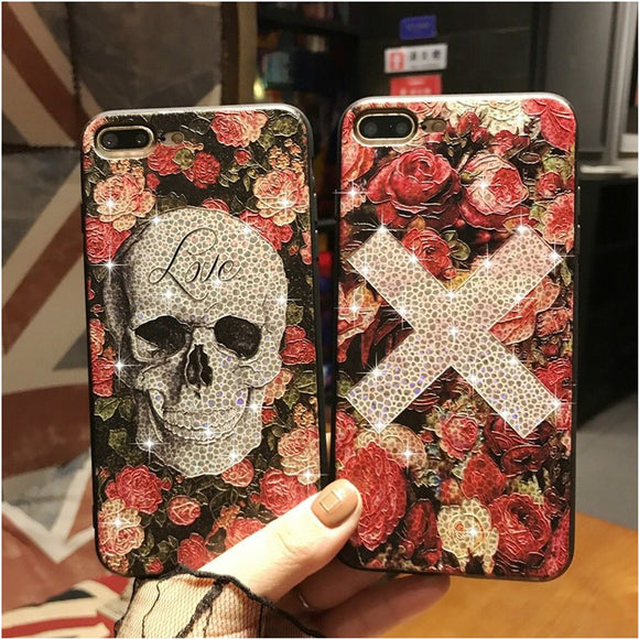 3D Relief Skull Glitter Bling Flower Case For iPhone