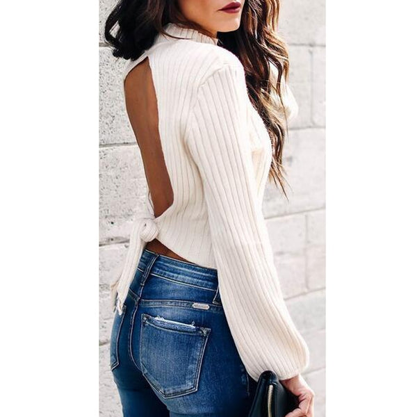 Women's Clothing - Women's Sexy Backless Bow Knot Sweater