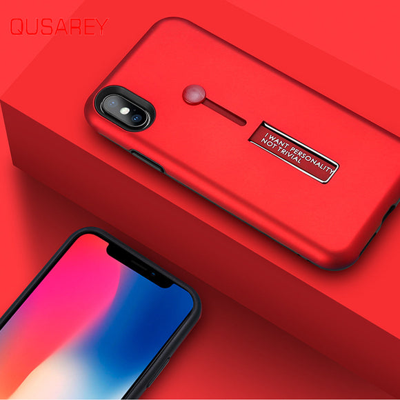 Phone Accessories - PC&TPU 2 in 1 Soft Ring Holder Stand Cover Thin Matte Case For iPhone X XS XS Max XR