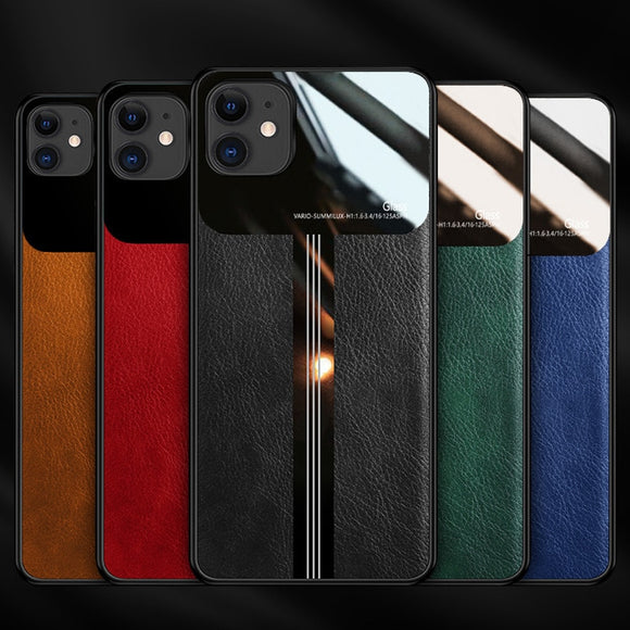 Luxury Leather Silicone Case For iPhone 11 Pro Max XS max XR XS X