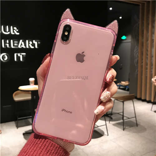 Bling Diamond Cute Cat Ears TPU Case For iPhone X Xr Xs Max
