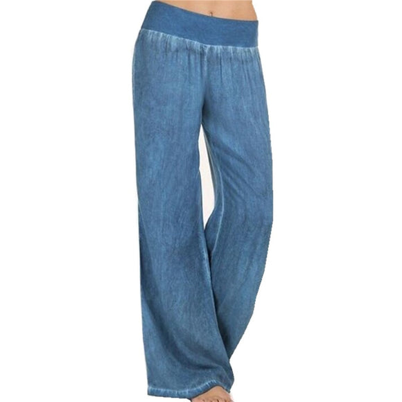 Women's Clothing - Plus Size Women Denim Wide Leg Pants