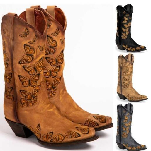 Kaaum Autumn Winter Cowboy Knee High Boots