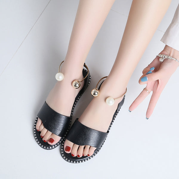 Fashion Rome Pearl Ring Flats Sandals