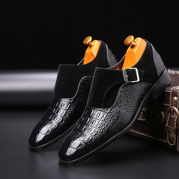 Shoes - Big Size Pointed Toe Crocodile Pattern Dress Shoes