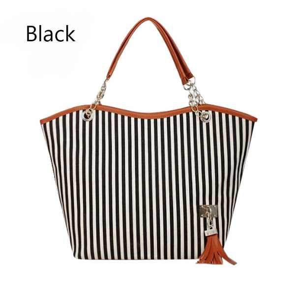 New Arrival Fashion Ladies Striped Canvas Shoulder Bags