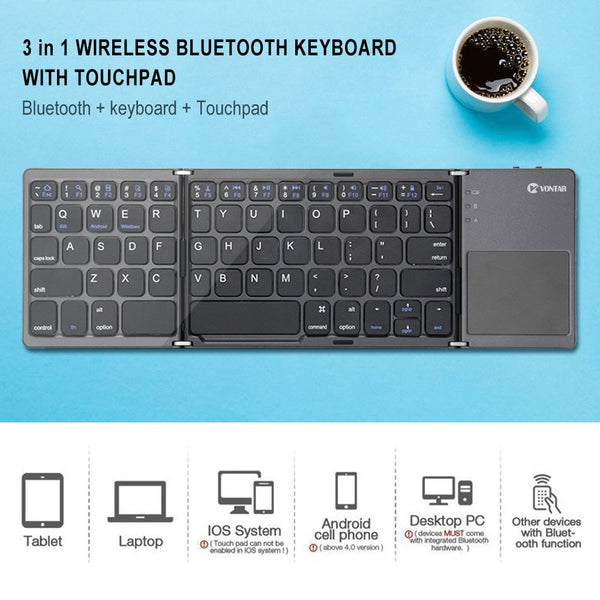 Mini Foldable Touch 3 0 Bluetooth Keyboard For Iphone Ipad Samsung