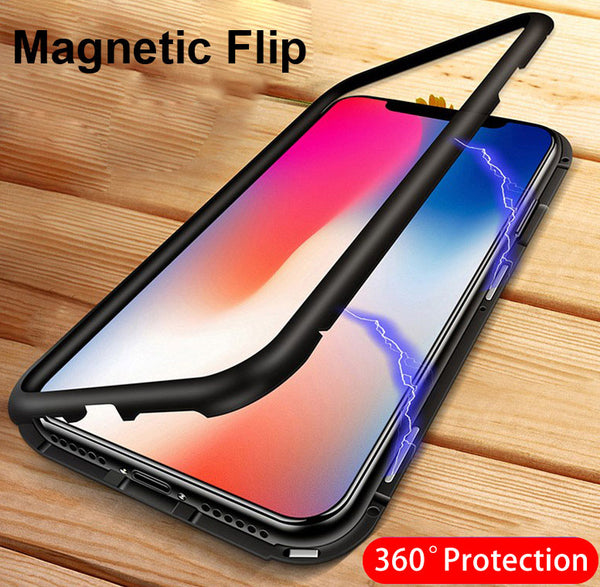 Phone Case - Magnetic Metal Transparent Tempered Glass Phone Case for iPhone X 8 7 Plus